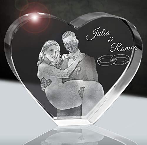 3Dglas Hochzeitsfoto im Glasherz | Geschenk fürs Brautpaar | 2D im 80mm Herz