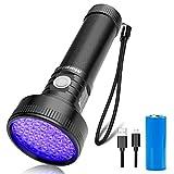 Morpilot 紫外線ブラックライト 51LED UVライト USB充電式 紫外線ライト 395NM アルミ製 耐衝撃 防水 ペットのオシッコ汚れ対策に UV懐中電灯 充電ケーブル付属