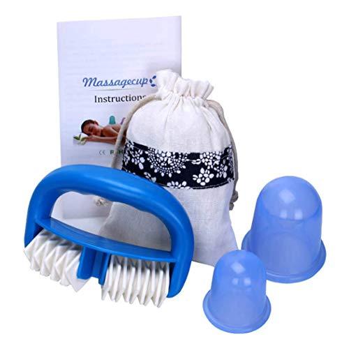 Anti cellulite cellulite Coupe Emboutissage Massothérapie à vide en caoutchouc Coupe Cellulite Dégraissage sans Emboutissage cellulite Remover massage, pour le corps de beauté du visage, Bleu