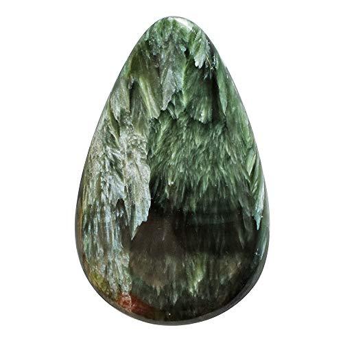 Cabujón de serafinita verde natural, tamaño 44 x 28 x 5 mm, piedra preciosa para hacer joyas, hecho a mano semipreciosa suelta, AG-13173