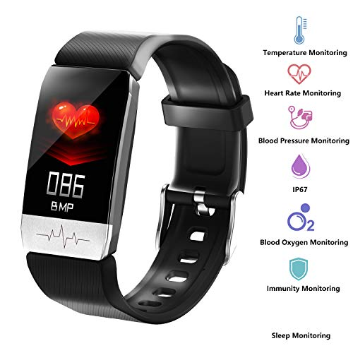 3Cloudge Fitness Tracker Body Temperature Blood Pressure Oxygen Heart Rate Sleep Monitor Step Counter Activity Tracker Smart Watch