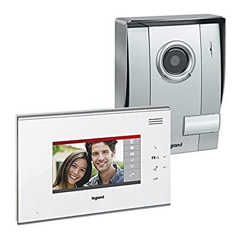 Legrand, Video-Türsprechanlage mit 2-Draht-Anschluss, 7 Zoll Farbmonitor in Weiß mit Touchscreen und Weitwinkelkamera, 1-Familienhaus-Set, 369300