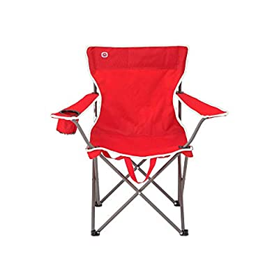 Outbound Camping Chair | Portable Foldable Wide Back Quad Chair with Cup Holder | Lightweight and Perfect for The Beach, Backpacking, and The Outdoors | Black, Gray (Red)