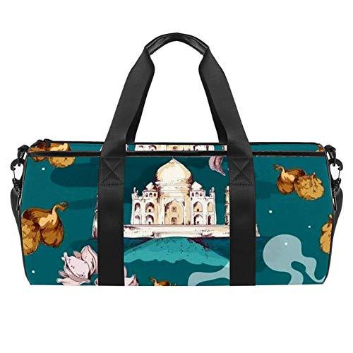 East Taj Mahal und Antike Teekanne Illustration Duffel Schultertasche Tragetasche Canvas Reisetasche für Gym Sport Tanz Reisen Wochenender