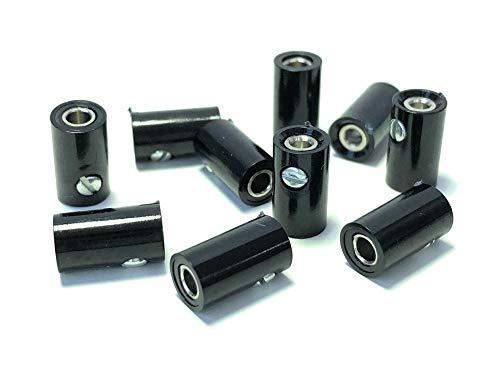 BELI-BECO 61/6 Kupplung für Querlochstecker - Miniatur-Bananenstecker mit Stift-Ø: 2,6mm - 10 Stück (Schwarz)