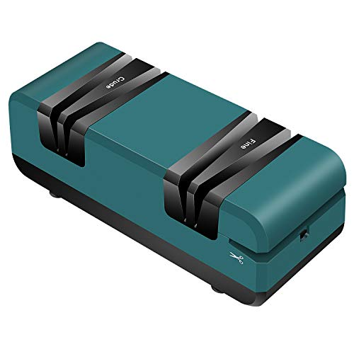 WHENOW Knife Sharpener Electric for Home, 4 in 1 Sharpener Machine for Knives, Scissors & Slotted Screwdrivers, 2 Stage Knife Sharpener with Pure Copper Motor.,60W, Dark Green & Black.