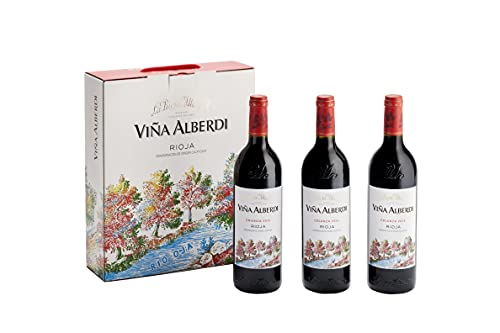Viña Alberdi - Vino Tinto D.O.C Rioja Alta Crianza Tempranillo - Añada 2016 - Pack Estuche 3 Botellas de 75 cl