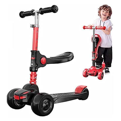 Patinete freestyle 4 ruedas para niños scooter, patear scooter con lámparas de luz LED, scooter para niños con 3 altura ajustables para niños plegables Balance scooter para niños pequeños niños niños