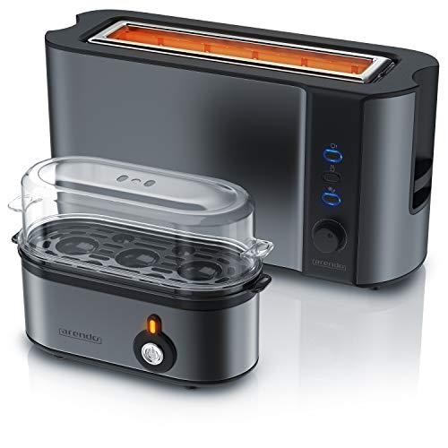 Arendo - 1000W Toaster mit Langschlitz für 2 Scheiben Toast und Brötchenaufsatz + Eierkocher für 1-3 Eier