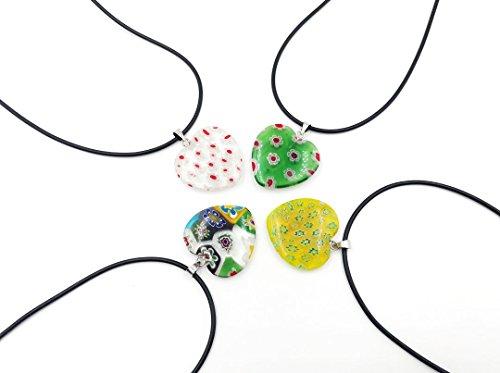 skyllc® 25mm Lampwork Murano Glas Herz Anhänger Halskette für Frauen Party Dekorationen gemischte Farben