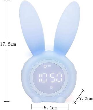 Aeeyui Lampe Réveil Enfant Lapin Mignon Réveil, Lampe de Chevet Veilleuse LED Reveil Matin avec Automatique Temps/Date/Tempér