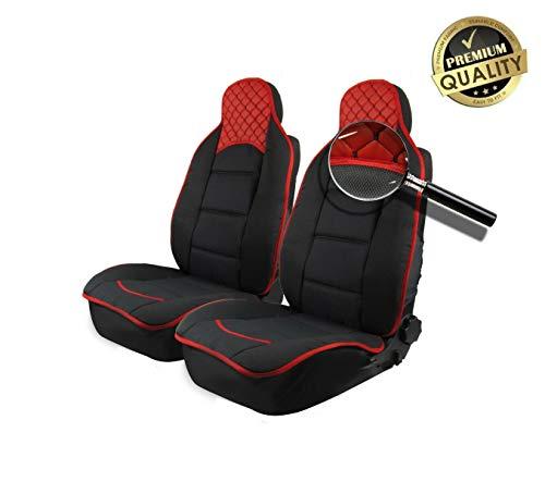 flexzon Cubiertas de asiento de coche de cuero sintético y tela acolchada en la parte delantera