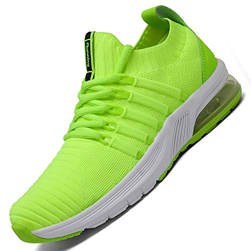 TUBYGO Running Shoes for Mens Womens Breathable Air Cushion Gym Lightweight Tennis Sport Walking Athletic Casual Footwear Sneakers (Fluorescent Green, Numeric_10)