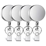 Selizo 4 Pieces Retractable Badge Holder Heavy Duty Badge Reels ID Holder with Keychain Ring Clip for ID Card Carabiner Key Card Work Badge