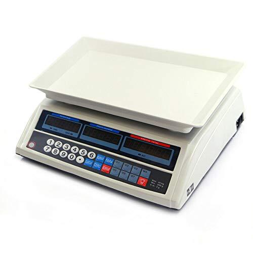 JPWOnline Báscula Digital Comercio Peso Exacto con divisiones de 2gr hasta 40 Kg 34x20cm batería Seguridad