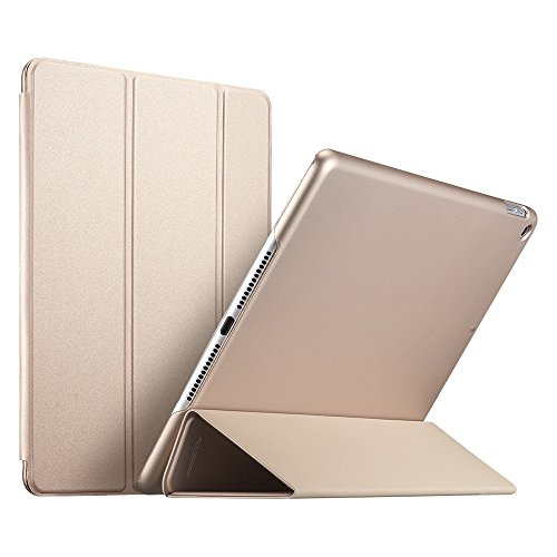 ESR New iPad 9.7inch 2018/2017 Case, [Rubber Cover] Slim Fit Leather Case Smart com Rubberized Back Cover e Auto Wake & Sleep Function para Apple - Ouro