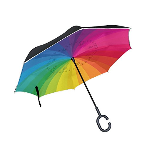 Guarda-chuva invertido de camada dupla para carros ALAZA My Daily Guarda-chuva com listras de arco-íris à prova de vento e UV para viagens ao ar livre