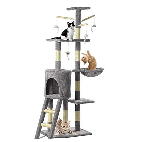 Multi Kratzbaum Turm Katzenkratzbaum Scratcher Activity Center 140 cm Katzen Kletterturm Große Cat Trees Katze Eigentumswohnung mit gepolstertem Plüsch Barsch für Indoor Cats Spielen und Ausruhen