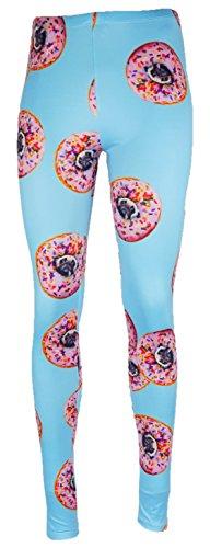 mygoodtime Leggings Sporthose Damen lang Donuts Mops Pug Blau Hellblau Pink Rosa inkl. Einkaufswagenchip