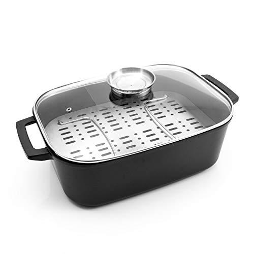 Karcher Java - Rostiera in alluminio pressofuso con griglia e coperchio in vetro con pomello salva aroma