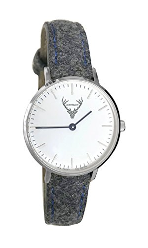 kleine Trachtenuhr, Uhr in Silber, 32mm mit Filzarmband in grau, Hellbraun, rot oder waldgrün; passend zum Dirndl und im Alltag Dank Quick Release-Band (grau)