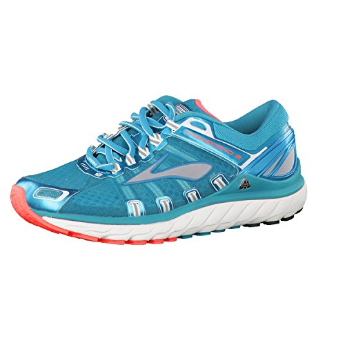 Brooks Women's Transcend 2 Athletic Shoes Caribbean/Poppy/White Size 6.0M