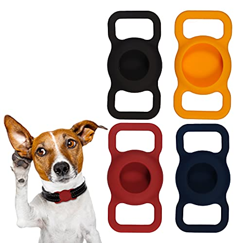 KINBOM 4 Piezas Funda Protectora para Airtags Collar de Bucle de Cuatro Colores Accesorios para Mascotas Soporte Antipérdida para AirTag Mascotas Perros Gatos Niños Bolsas para Ancianos