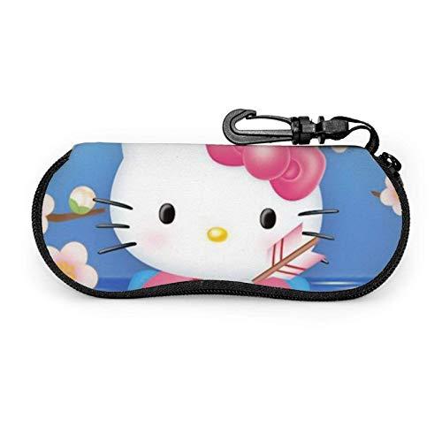 Hello Kitty Anime - Funda para gafas de sol con mosquetón, ultra ligera, portátil, de neopreno, con cremallera, para viajes, funda suave