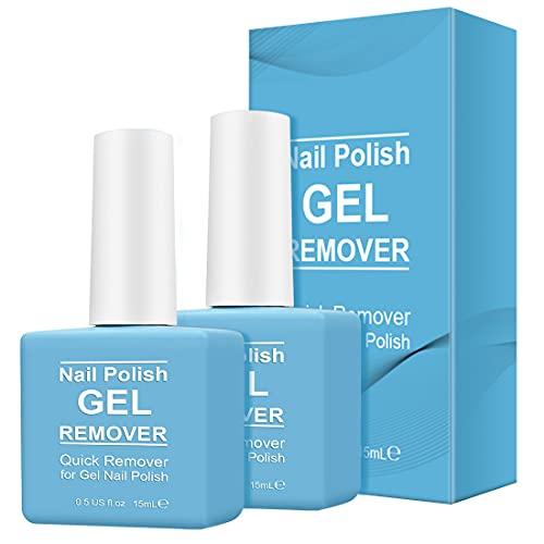 Gel Nail Polish Remover 2 Pack-Magic Gel Polish Remover Soak-Off Gel Polish-Quickly & Easily Remove Nail Polish in 5-6 Mins-Don't Hurt Your Nails Professional Non-Irritating Nail Polish Remover-15ml