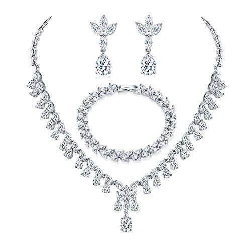 EPVOA - Juego de joyas de plata 925 para mujer, collar y pendientes y pulsera con circonitas, para mujer, boda, novia, austriaca, gota de cristal, collar, pendientes, juego de joyas.
