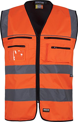 Work Team Chaleco Multibolsillos Alta Visibilidad. Cintas Reflectantes Diferentes tamaños. EN ISO 20471:2013 Hombre Naranja A.V.+ Negro XL