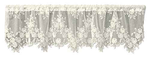 Heritage Lace Tea Rose 60-Inch Wide by 17-Inch Drop Valance, Ecru