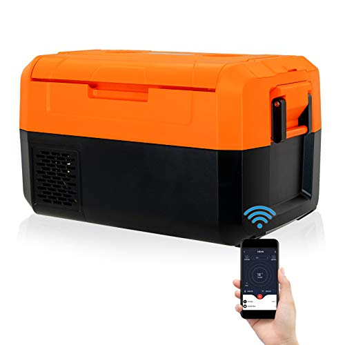 Fullwatt 12 Volt Portable Car Refrigerator, Compact Travel Freezer Fridge Dual Zone with LCD Display, Bluetooth Control, -4°F to 50°F, RV Fridge for Outdoor Camping Vehicle Use (37 Quart, Orange)