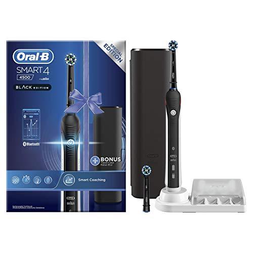 Oral-B Edición Diseño Smart 4 4500 Cepillo eléctrico recargable con tecnología de Braun, 1.mango conectado con Bluetooth, 1.cabezal de recambio, 1.estuche de viaje Exclusivo, Negro