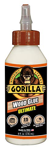 Gorilla Ultimate Waterproof Wood Glue, 8 ounce, Natural, (Pack of 1)