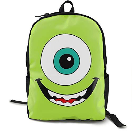 Mike Wazowski Face 16.5 pulgadas doble compartimento estudiante mochila mochila escolar adecuada para niños y niñas escuela colegio viajes al aire libre