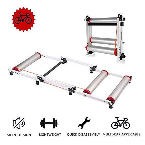 ZXYY - Entrenador de bicicleta plegable, soporte de entrenamiento para bicicleta, entrenador de rodillos para bicicleta retráctil, interior para bicicleta de montaña y bicicleta de carretera, plateado