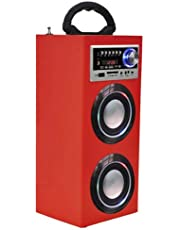 Majestic TS 78 BT USB SD AX - Altoparlanti a torre portatili con Bluetooth, Ingressi USB/SD/AUX-IN, radio FM, batteria ricaricabile, luci intermittenti, Rosso