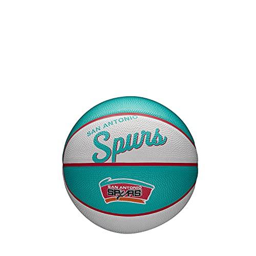 Wilson Mini Pelota de Baloncesto Team Retro, San Antonio Spurs, Exterior, Caucho, Tamaño: Mini
