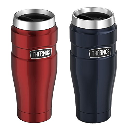 Genuine Thermos Brand Stainless King Vacuum Insulated Stainless Steel Travel Tumbler 16oz Pair Cranberry and Midnight Blue