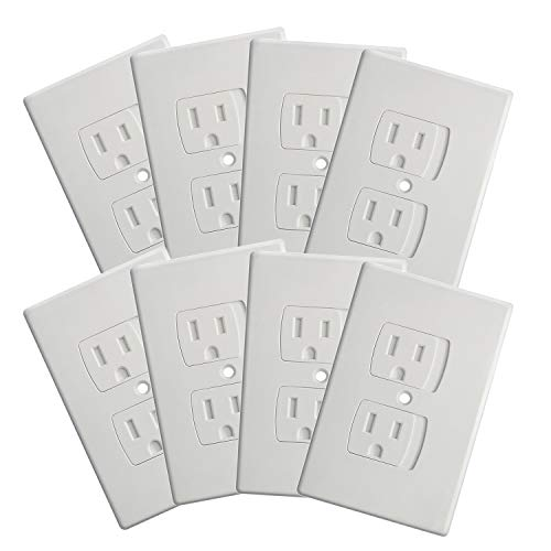 8-Pack Upgraded Self Closing Electrical Baby Proof Outlet Covers   Child Proof Plug Safety Universal Wall Socket Plate   Automatic Sliding Cover Standard Wall Outlet Covers (8 Pack)