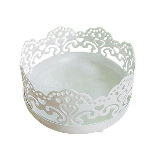 Outflower Présentoir en Dentelle de Fer Présentoir de Vase en Verre Gâteau Dessert Fer Forgé Dentelle Blanc Présentoir Accessoires de Table de Mariage Round