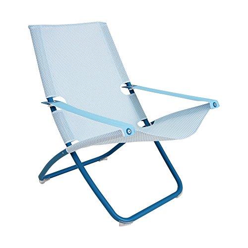Snooze Liegestuhl, hellblau blau Sitzfläche EMU-Tex hellblau BxHxT 75x105x91cm Gestell Stahl blau klappbar