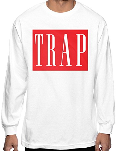 Red Trap T Shirt Long Sleeve Crew Tee Hustle Thug Dealer Gang Rap Life Pablo NY (Large - L)