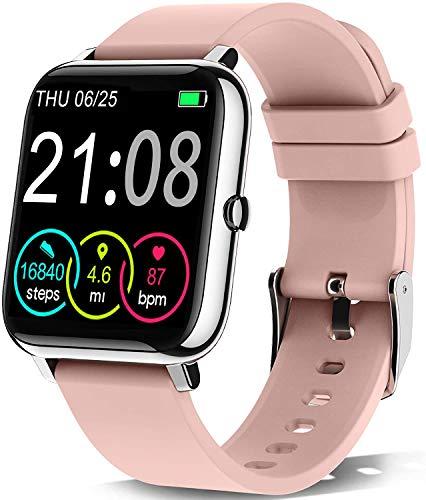 Smartwatch, Reloj Inteligente con Pulsómetro, Cronómetros, Calorías, Monitor de Sueño, Podómetro Pulsera Actividad Inteligente Impermeable IP67 Smartwatch Mujer Reloj Deportivo para Android iOS-Rosado