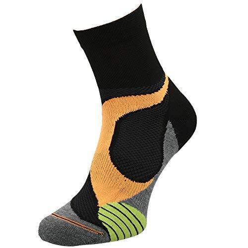 Comodo - Calcetines deportivos para hombre y mujer, antideslizantes, 1 par de calcetines de running con talón y dedos reforzados, todo el año, Unisex, color RUN4 / Negro/Gris/Naranja, tamaño 43-46