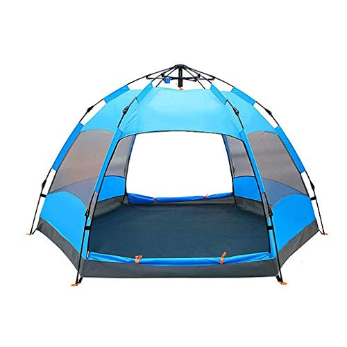 WGYDREAM Automatic Tent Pop Up Instant Tent Camping Tent 3-4 Person Outdoor Waterproof Windproof Two Doors Backpacking Tent for Hiking Mountaineering (Color : Blue)