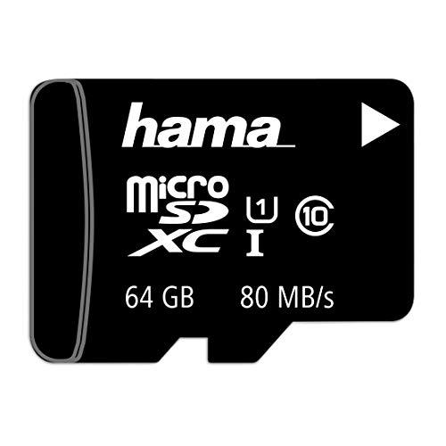 Hama microSD | microSDHC | microSDXC Karte 64GB 80MB/s Übertragungsgeschwindigkeit Class 10 microSD Speicherkarte im Mini-Format Mini SD z. B. für Android Handy, Smartphone, Tablet, Nintendo UHS-I