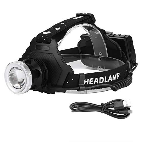 XHP50 USB de carga telescópica zoom fuerte de la luz de la cabeza de la lámpara impermeable material de luz para la pesca al aire libre camping iluminación