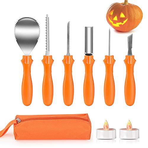 Joyjoz Halloween Kürbis Schnitzset mit 2 LED Leuchten, Kürbis Carving Tools mit Edelstahlwerkzeugen mit Aufbewahrungskoffer, Kürbis Lantern für Halloween Dekoration